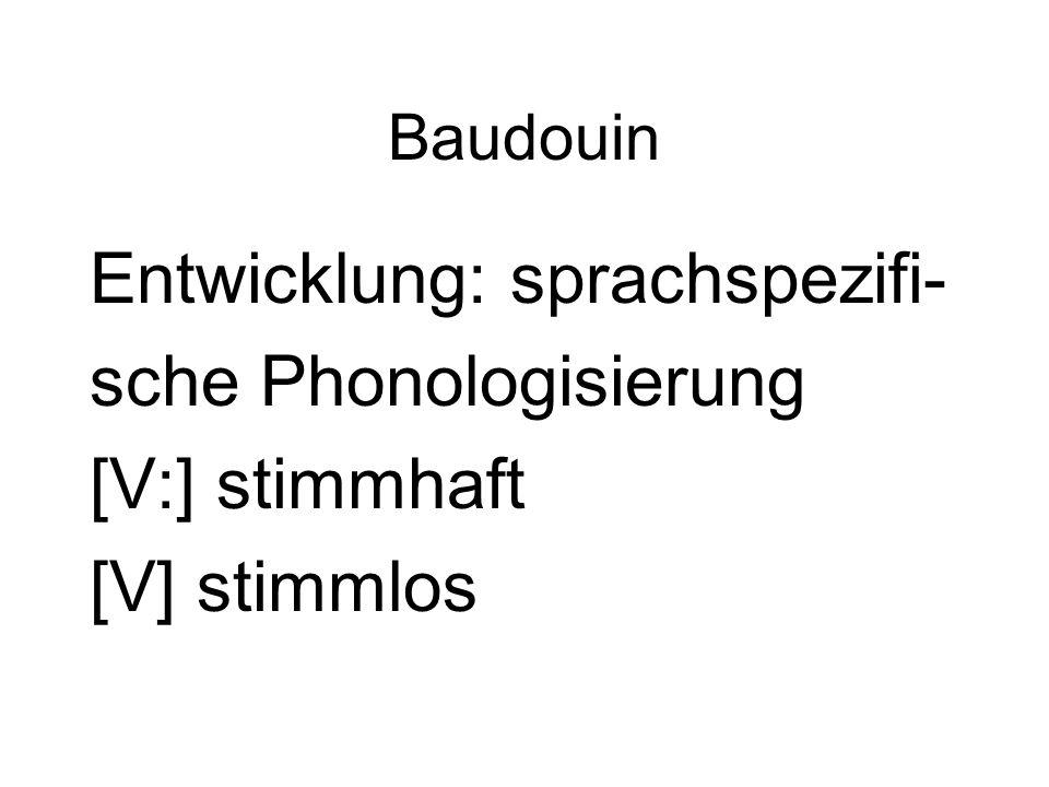 Entwicklung: sprachspezifi- sche Phonologisierung [V:] stimmhaft